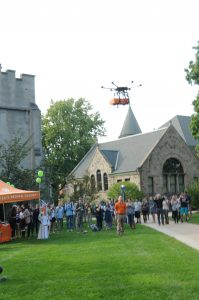 Orange Leaf Frozen Yogurt's drone prepares to land in the Pine Grove.