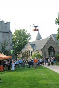 Orange Leaf Frozen Yogurt's drone prepares to land in the Pine Grove.