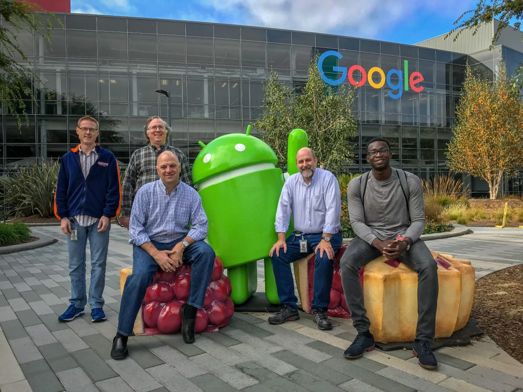 Google employees outside the Googleplex headquarters.