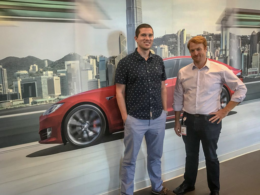 Blair Williams '10 and Randy Johnson '07 at Tesla.