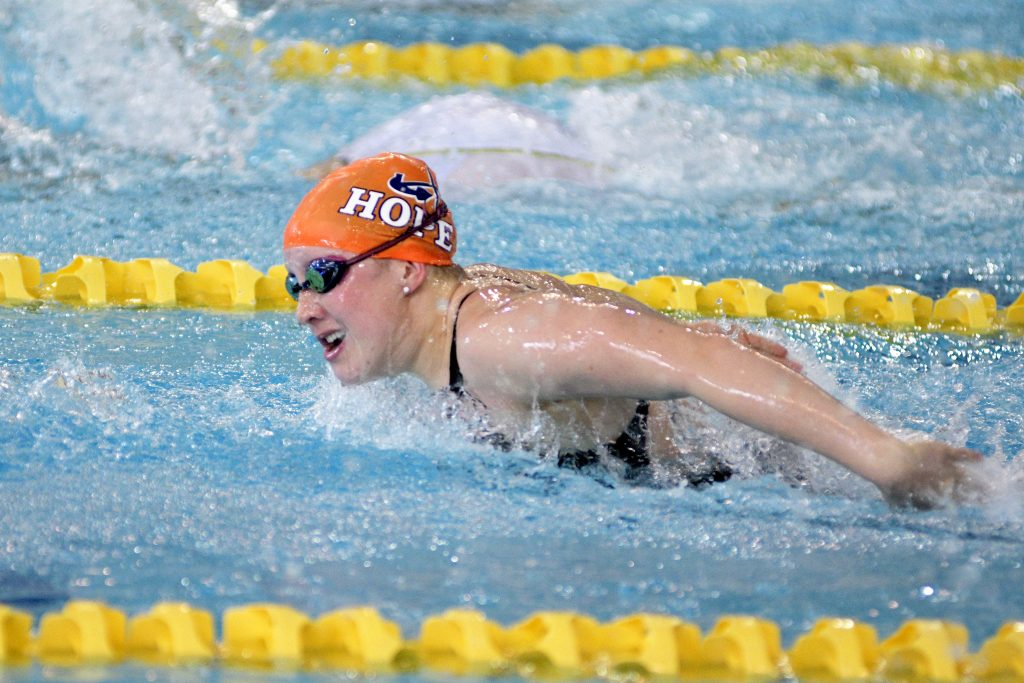 Emma Schaefer races in the swimming individual medley