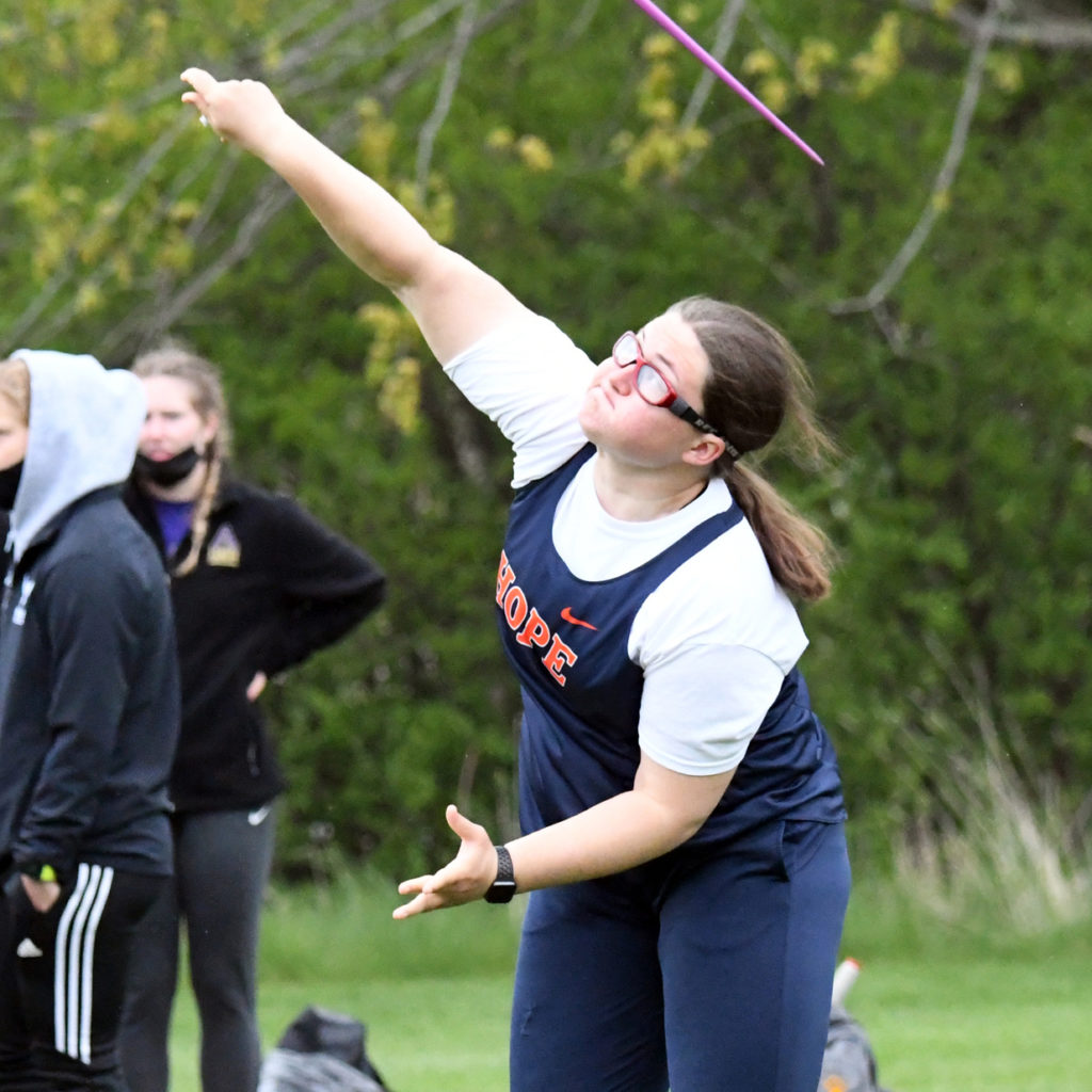 Libby Strotman throws the javelin.