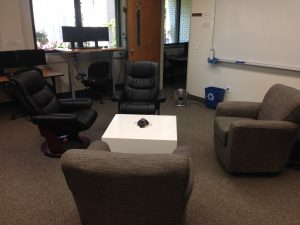 New lab furniture for students using laptops, reading, or otherwise just hanging out.
