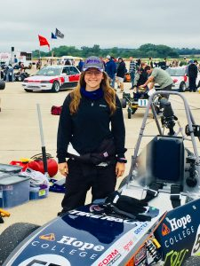 Hope student, Morgan Dalman ('19) shows off the Hope FSAE 2018 race car at the Sports Car Club of America (SCCA) Solo Nationals competition