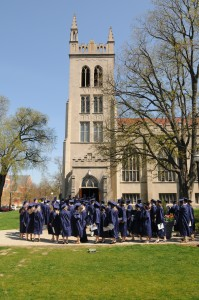 Students walking into Dimnent for Baccalaureate
