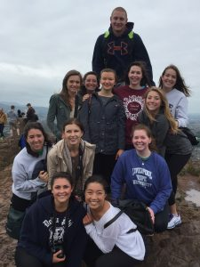 1) This is the group of 12 students at Arthur's Seat in Edinburgh.  Starting at the bottom, L to R: Row 1: Taylor VanRemmen, Caren Shin Row 2: Nicole Mirabile, Allie Thomason, Libby Rieman Row 3: Betsy VerHage, Caitlin Maas, Rachel Bartkowiak, Macauley Wieland, Row 4: Aaron Hazen Sara Frank, Emma Fowler