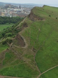 2) The view looking down. Note the city of Edinburgh in the upper left hand corner—including Edinburgh Castle.