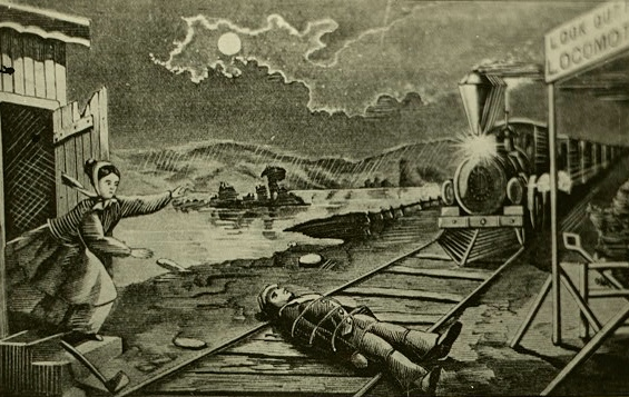 A black-and-white illustration of a woman about to rescue a man who is tied to train tracks, while a train approaches in the distance (from 1868).