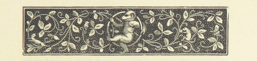 Decorative border with dancing bear.