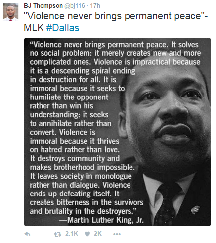 BJ Thompson--MLK quotation on violence