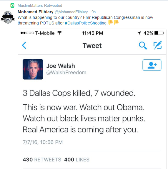 Joe Walsh tweet--real America is coming after you