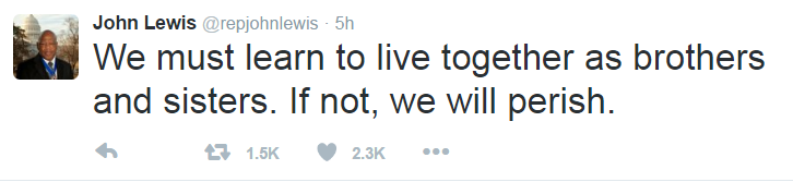 John Lewis--we must learn to live together or perish