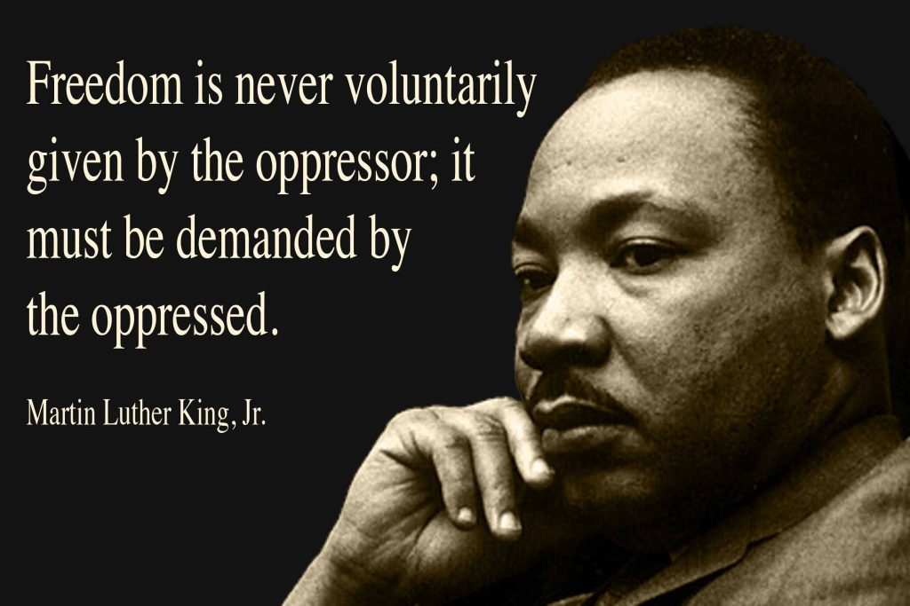 Freedom is never voluntarily given by the oppressor