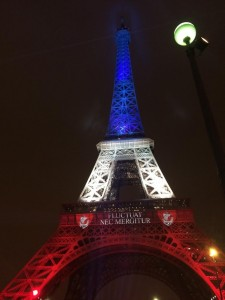 Eiffel Tower lit up in the French flag a week after the attacks.  Before this the Eiffel Tower had been dark.
