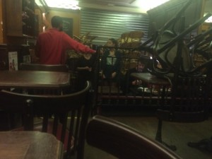From inside the cafe during the attacks.  They closed the metal door shutters and moved everyone to the back.