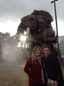 Me with my friend Emily (a recent Hope grad) in front of one of Nantes's most famous attractions, the giant mechanical elephant at the Machines de l'Ile. The Machines are inspired by Jules Verne, and this one walks, carries people, and even sprays water out of its trunk!
