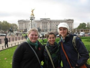 Rachel Syens on a study abroad weekend trip to London with fellow Hope grads Molly (Mead) Towne and Maggie Almdale.