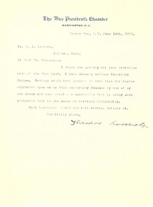 June 24, 1901 letter from Vice President Theodore Roosevelt to Hope College President Gerrit Kollen.