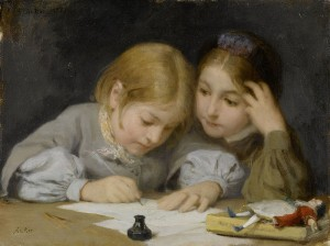 Albert Anker (1831–1910), The Writing Lesson [Public domain], via Wikimedia Commons