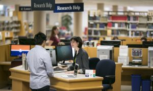 student working with librarian at the Research Help Desk