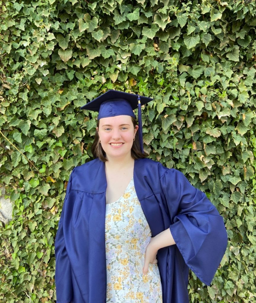 photo of Hannah Jones in her cap and gown at graduation in 2021