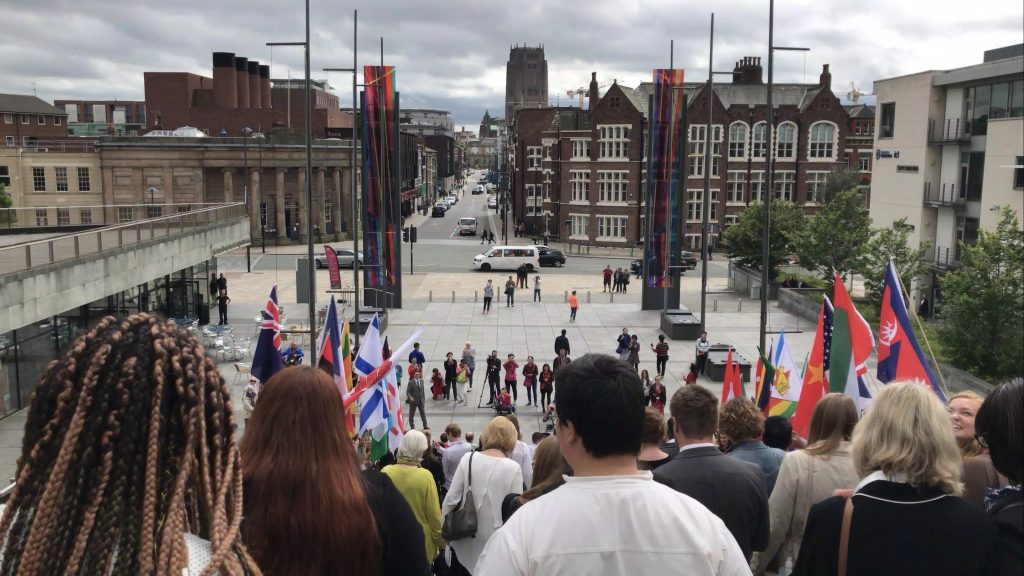 A photo taken by me, within the same Big Hope 2 crowd on the Cathedral steps.