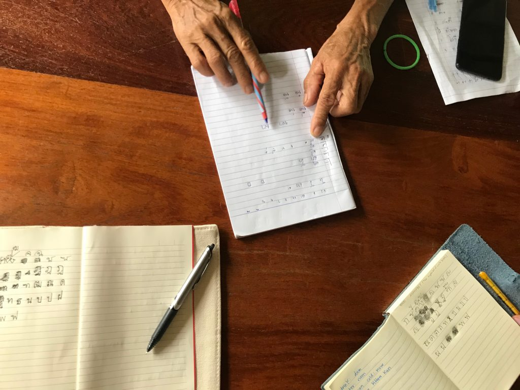 Sitting across from Pha Khum in my usual spot, starting to learn the Thai alphabet. Pha Khum was always eager to teach, despite the language barrier. His joy in teaching sparked my fascination with the language.