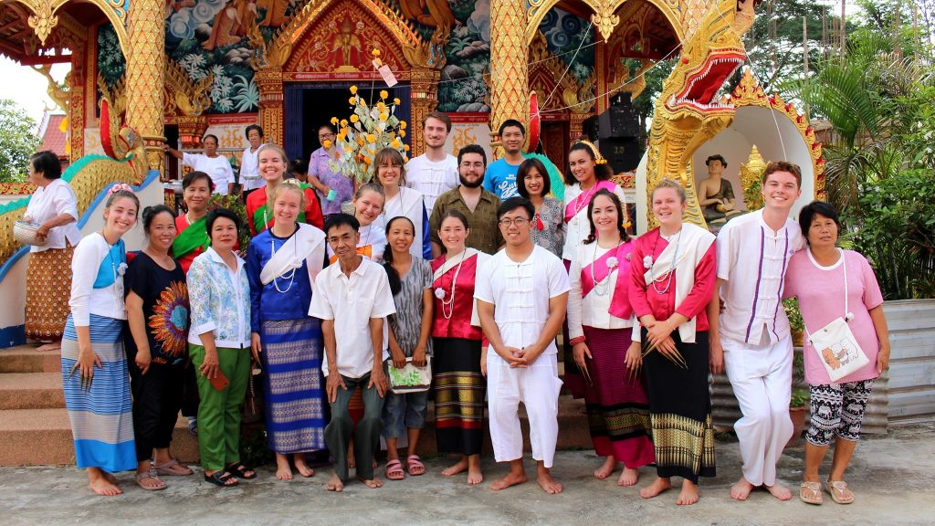Our whole program after performing a traditional Thai dance at the village temple.