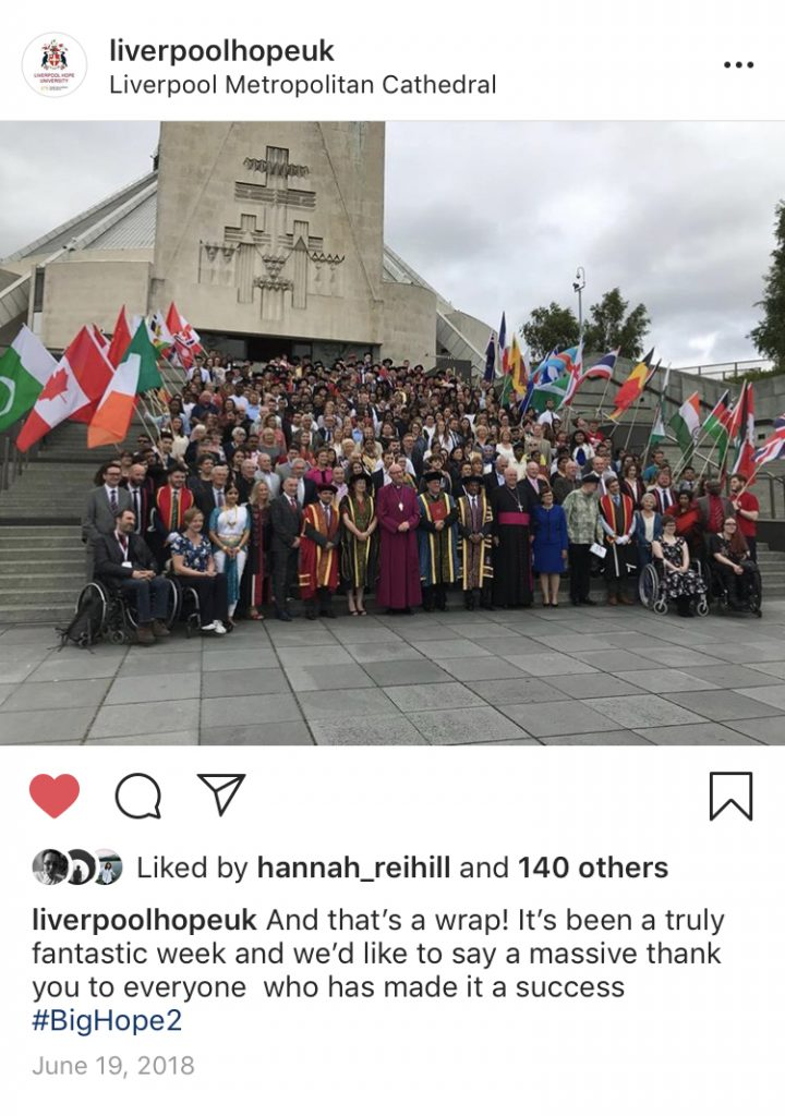 An Instagram post, by Liverpool Hope University, of all Big Hope 2 participants on the steps of the Liverpool Metropolitan Cathedral.