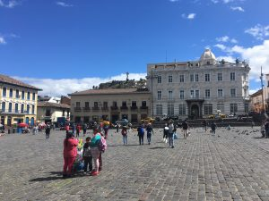 One of the squares in the historic center of Quito. On the right (where you can't see) is a huge, old church/convent that you can tour)