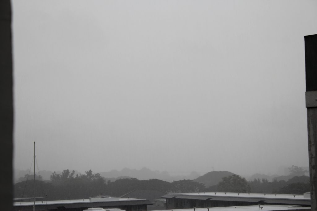 This view from my room's window usually includes a mountain, but the pouring rain is completely blocking it from view.