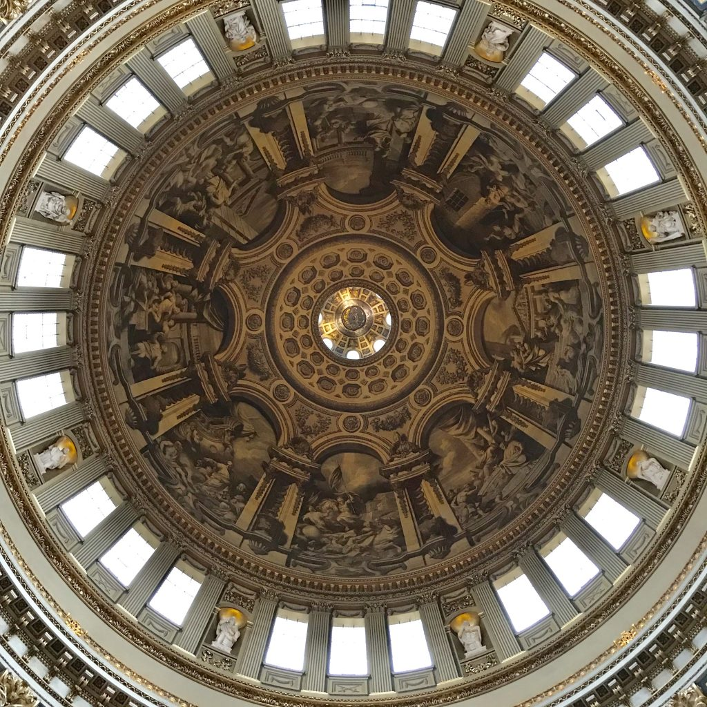 The dome from inside St. Paul's Cathedral. The paintings are scenes from the life of St. Paul.