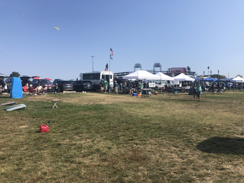 At a tailgate with friends, waiting for the Eagles vs. Lions game to begin!