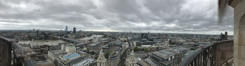 This is the view from the top of St. Paul's Cathedral. Across the River Thames, you can just make out Shakespeare's Globe and the London Eye.