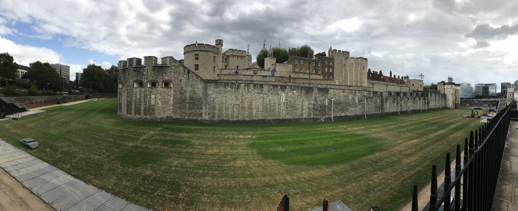 This is a panoramic view of the Tower of London. To the right of the slender, circular tower on the left is the building where the Crown Jewels are housed.