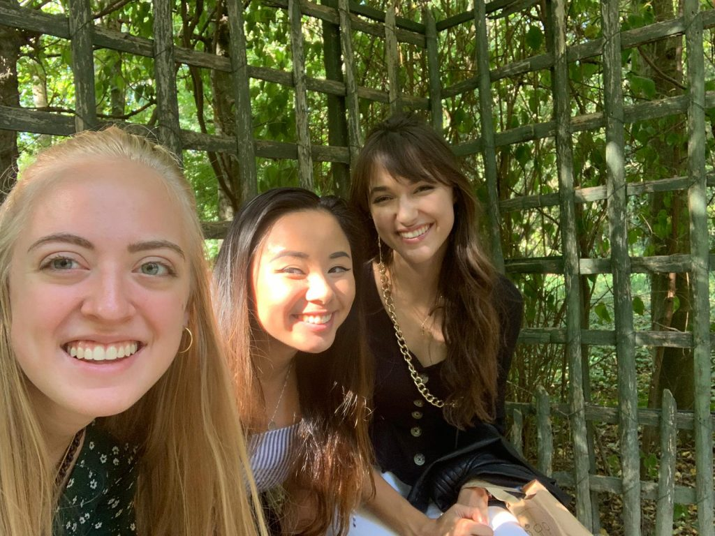Hailey, Kamille and I taking a shady break in the Gardens