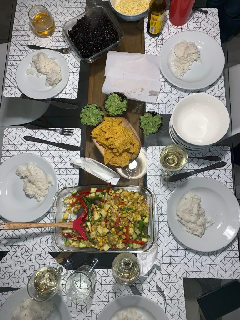The delicious meal that we cooked at our Airbnb. As you can see, we had an incredible dinner!