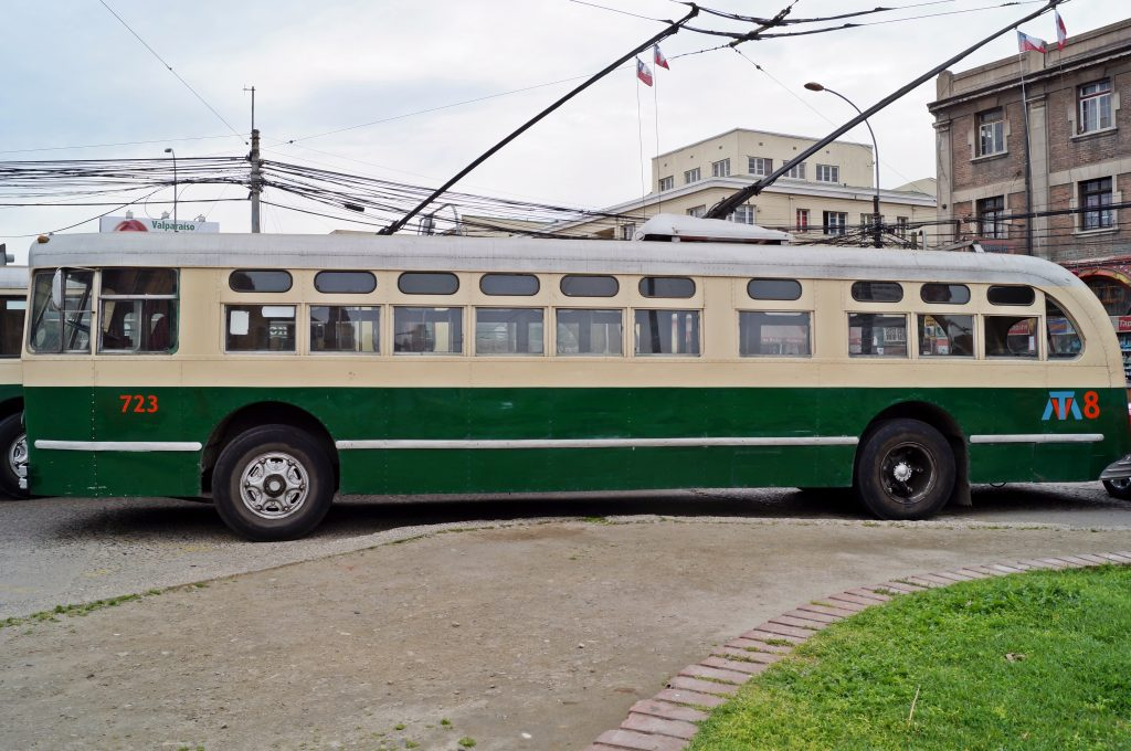 The Trolebus system is more than 50 years old and struggles to maintain the funds necessary to keep running, but it's an iconic part of the Valparaíso public transportation system! Photo not my own (taken from https://commons.wikimedia.org/wiki/File:Trolebus,_Valpara%C3%ADso.JPG; file is licensed under the Creative Commons Attribution-Share Alike 3.0 Unported license.)