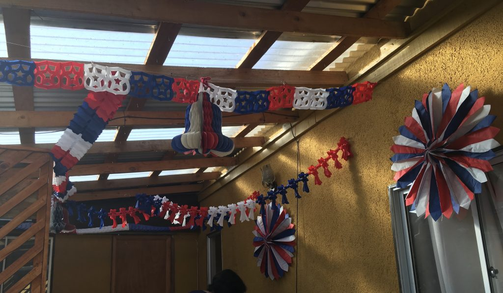 The decorations at my host family's house, in the colors of the Chilean flag!