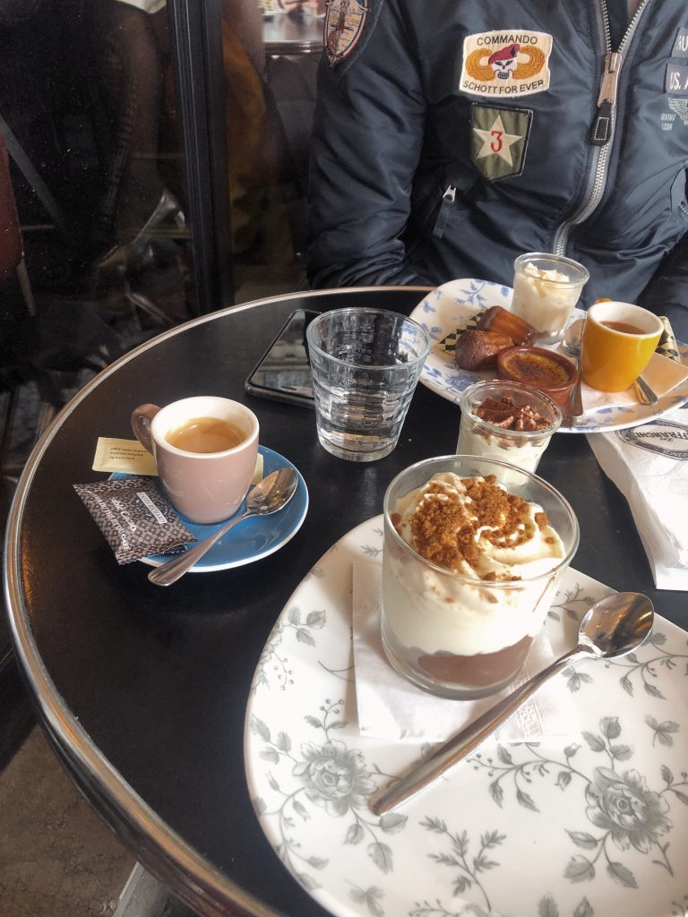 Dessert and espresso with a new French friend