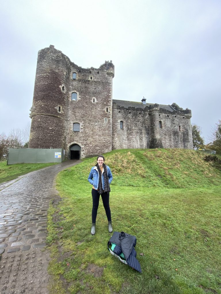 This is Doune Castle, which was used as Castle Leoch in the first season of Outlander. You may also recognize it as the castle in Monty Python and the Holy Grail!