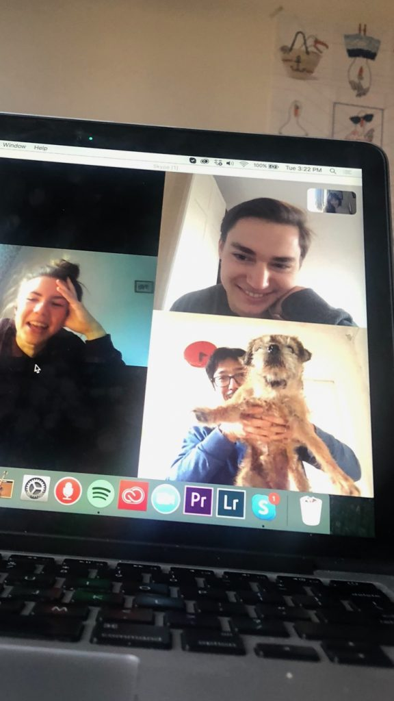 """My professor reenacting """"The Lion King"""" with his dog during our class on Skype."""