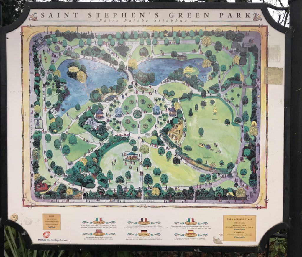 """Map of St. Steven's Green, the """"Central Park"""" of Dublin"""