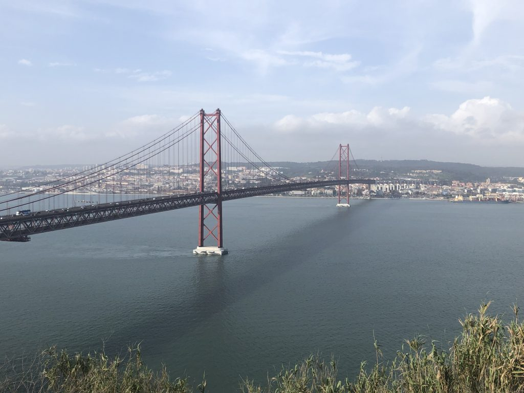 Lisbon, a sister city to San Francisco, has a large suspension bridge spanning across its bay.