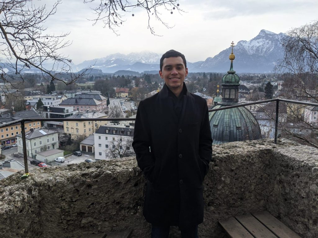 The city of Salzburg in the background.