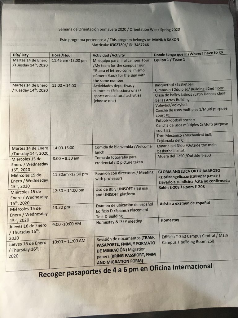 The schedule for orientation.