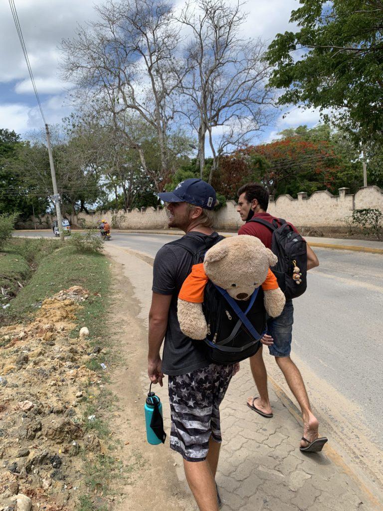 Taking the SIT Tanzania mascot for a tour around Kilifi
