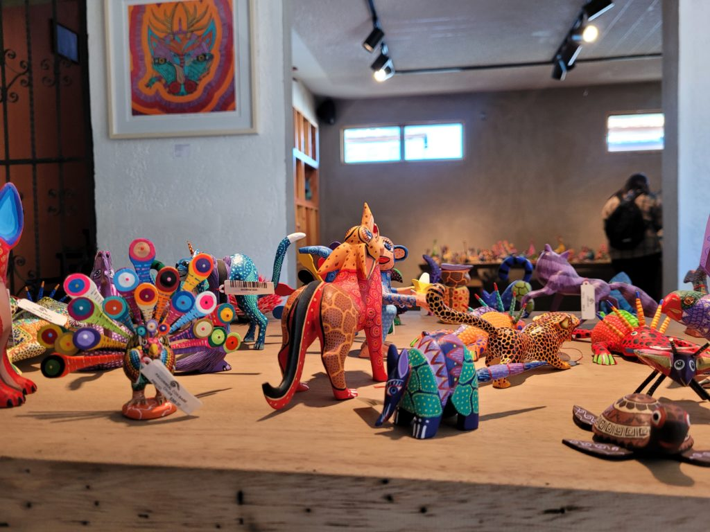 Several of their smaller alebrijes are available for purchase in their gift shop. As you can see, turtles, armadillos, peacocks, and jaguars are a few of many creatures that are created.