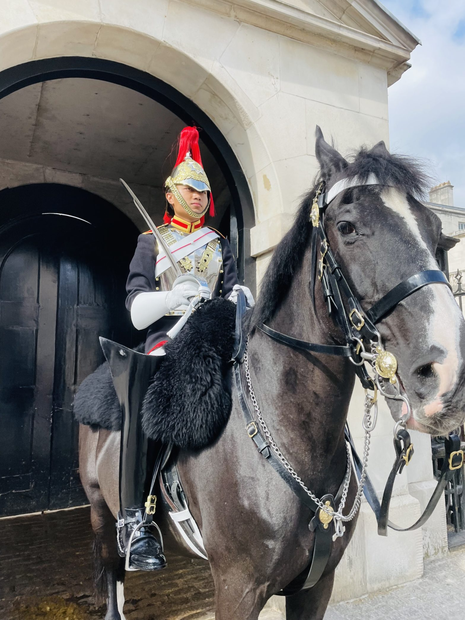 This picture captures a mounted trooper on duty at the entrance of the horse guards. Shortly after this picture was taken, I unexpectedly witnessed the horse guard parade where a cavalry of horses come to switch out the horses who have been stationed there for an hour. A cool experience!