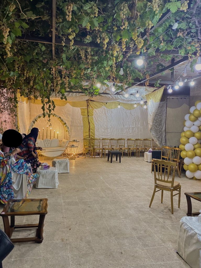 The wedding courtyard.